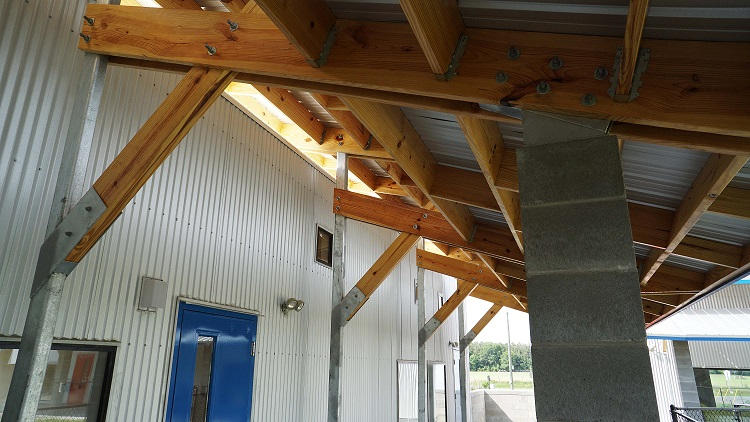 exposed beams on roof structure